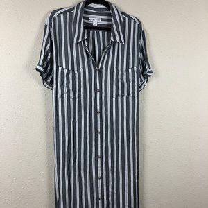 Ava & Viv Striped T-Shirt Dress Grey 3X